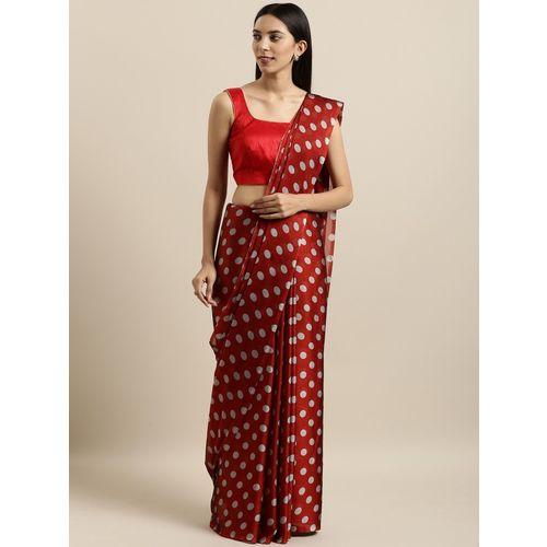 Four Seasons Polka Print Fashion Crepe Saree(Red, Grey)