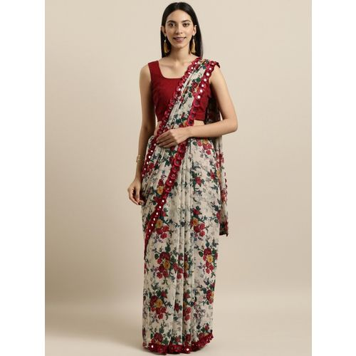 Four Seasons Floral Print Fashion Georgette Saree(Red, White)