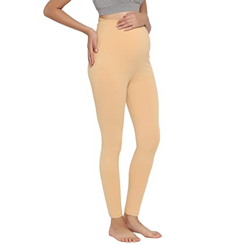 Wobbly Walk Beige Solid  Maternity Leggings