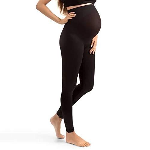 Generic Black Cotton Solid Maternity Leggings