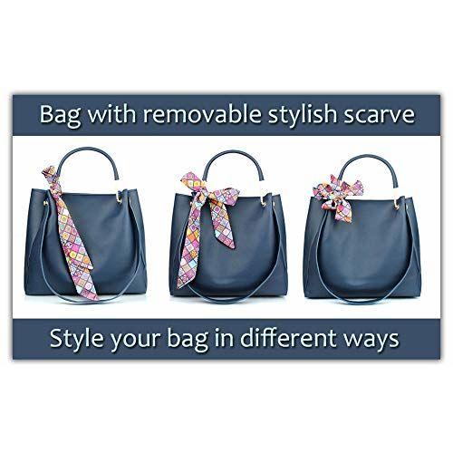 Mammon Women's Blue PU Leather Handbag Combo (3ribn-blue-tie)