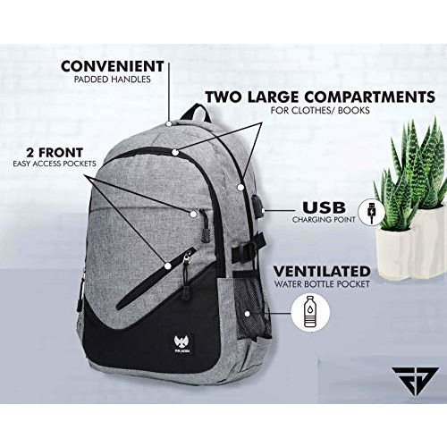 Fur Jaden Grey Casual Backpack with USB Charging Port and 15.6 Inch Laptop Pocket