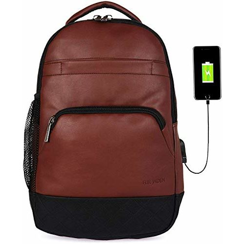 Fur Jaden Brown Polyurethane Laptop Backpack Bag with USB Charging Port