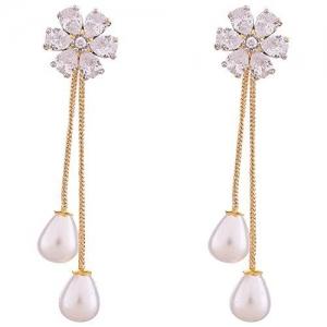 Ratnavali Jewels Fashion Jewellery Gold Plated Sparkling Colors Pearl Fancy Party Wear Dangle & Drop Earrings Tops Women/Girls