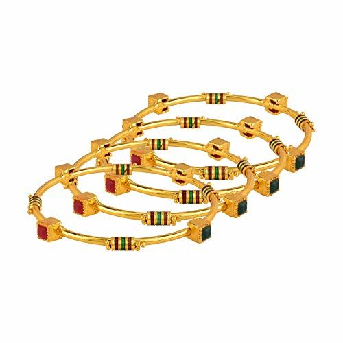 Archi Collection Traditional Gold Plated CZ Kundan Fancy Bridal Bangle Set Jewellery (4 pc)