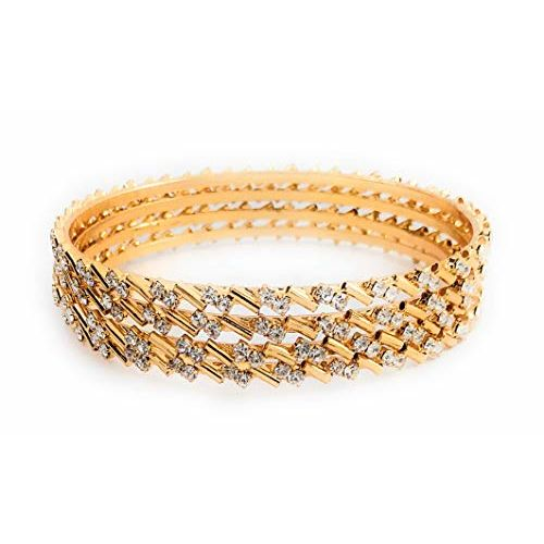 AFJ Gold 1 Gram Gold Plated Traditional Designer American Diamond White Stone Bangles Sets for Women & Girls (2.4)