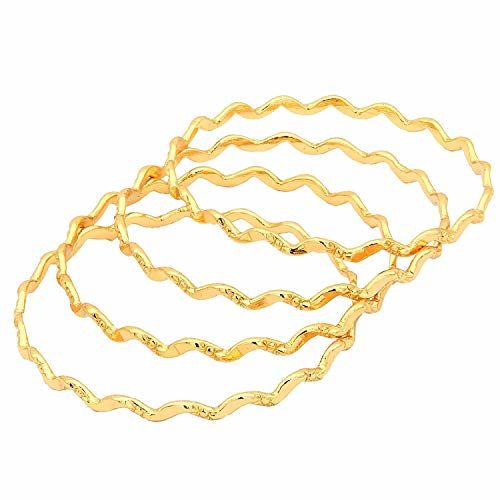 AFJ GOLD 1 GmYellow Gold Plated Thin Bangles forWomen -Set of 4