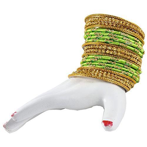NMII Green Color Silk Thread & Glass Bangles Set for Girls & Women (Green,2.2)