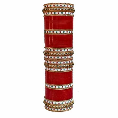 Lucky Jewellery Bangle Set for Women (Red) (1016-M1C1-SUNAINA-R28)