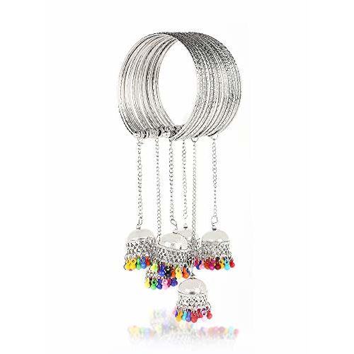 Yellow Chimes Traditional Oxidized Silver Jhumki Latkan Tassels Charms Adjustable Latest Trend Bangle Kadaa Bracelet for Girls and Women (Silver)