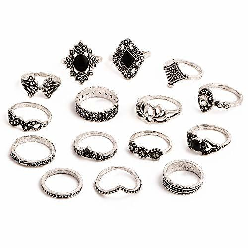 Jewels Galaxy Vintage Floral Designs Silver Plushy Rings for Women/Girls (Mixed Sizes) (JG-PC-RNG-901)