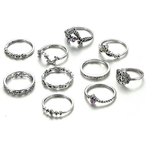 Shining Diva Fashion Oxidized Silver Ring for Women (Set of 10) (9160r)