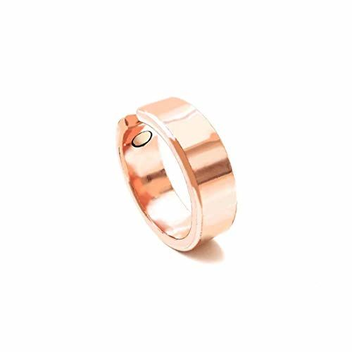 Shinde Exports copper magnetic ring pure adjustable for men and women 8 mm (design 9)