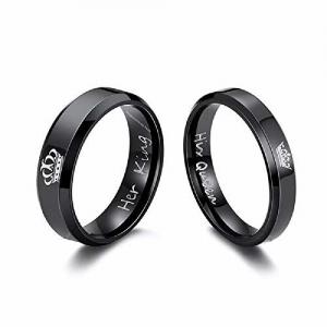 University Trendz 2PCS Her King His Queen Black Titanium Stainless Steel Couple Rings, Anniversary, Engagement, for Men and Women (Please Select Men & Women