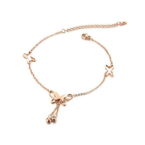 YELLOW CHIMES Butterfly Rose Gold Plated Stainless Steel Anklet for Women