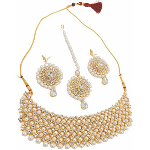 Apsara Art Jewellery Tradtional Gold Plated kundan Style ranihar Multi Layer Jewelley Combo Set (Famous White Stone Combo)