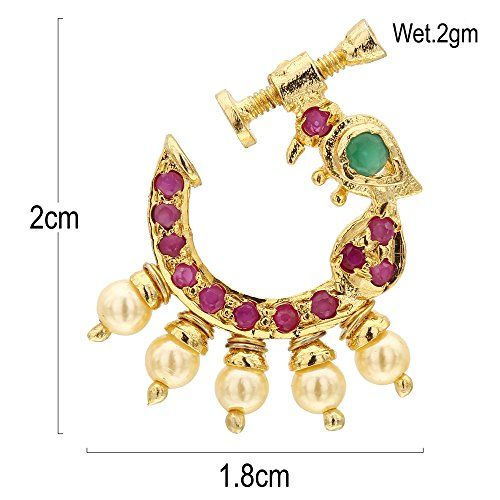 Sasitrends Present Peacock Design Non-Piercing Screw Press Nose Pin for Women and Girls (Ruby and Green)