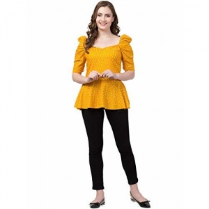 ZUVINO Women's Regular Fit 100% Rayon Fabric Floral Top with Princess Sleeve, Office wear, Summer Wear (Mustard, X-Small)