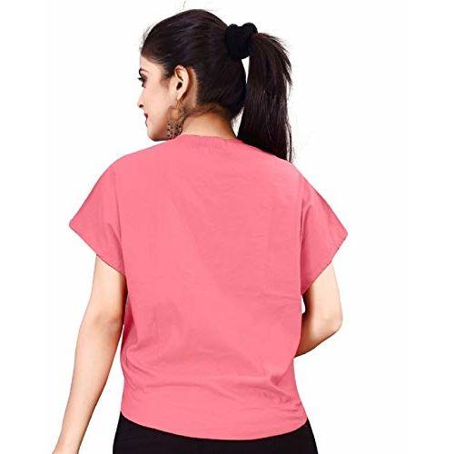 LooksGud Women's Animal Print Regular fit Top (MAP-LG-W1160-S_Pink Small)