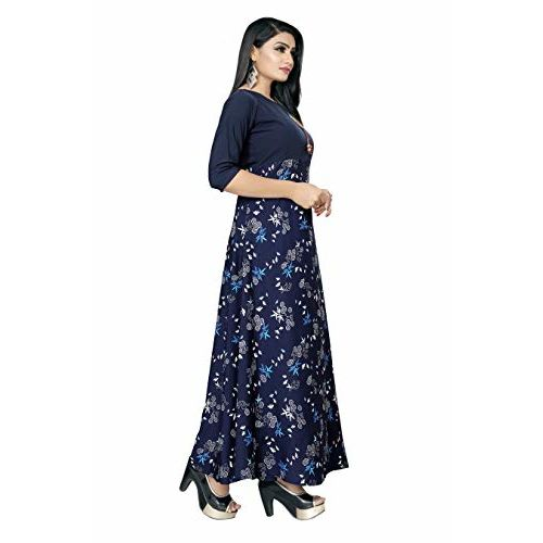 New ethnic 4 you Women's Western Crepe Fit and Flare Maxi Dress/Gown (Multicolour, Medium)