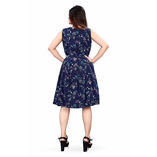 New Ethical Fashion Printed Knee Length Dress for Women_F28-XS