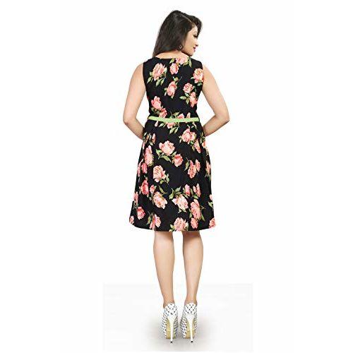New Ethnic 4 You Women's Crepe Western Dress (Black, XS)
