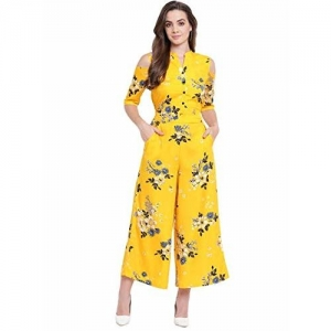 Deewa Women's Maxi Jumpsuit ( CB-043-S_Black And Yellow_Small)