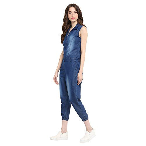 StyleStone (3177MnkyJSS)-Women's Denim Monkey Wash Jumpsuit