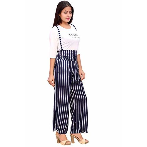 ORIEX Polycotton Striped Jumpsuit Dungaree for Girls - Blue (13-14 Year)