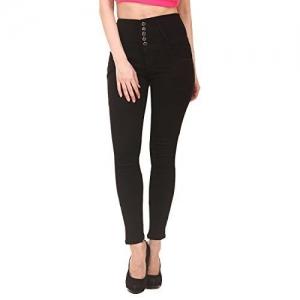 Generic Jannon Women's Denim Slim Fit 5 Button High Waist Jeans (Black, 28)