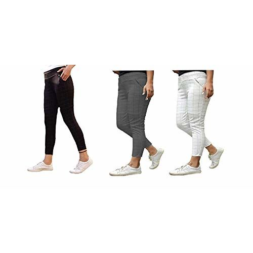 HELISHA Hosiery Cotton Printed chex Pants(with Diamond Pocket) Gym Legging Combo for Women(Free-Size) 28-32 Waist Size (Pack of-3)(White-Grey-Black)