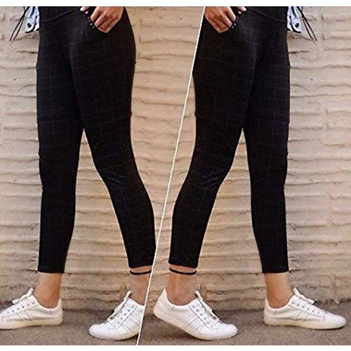 HELISHA Hosiery Cotton chex Pants | Girls Jeggings Ripped Ankle-Length Gym Legging for Women(Free-Size) 26-32 Waist Size Free-Size fit for (S-M-L),(Black)