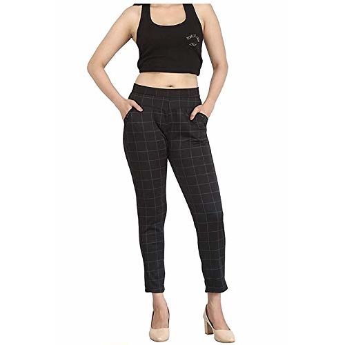HELISHA Hosiery Cotton chex Pants   Girls Jeggings Ripped Ankle-Length Gym Legging for Women(Free-Size) 26-32 Waist Size Free-Size fit for (S-M-L),(Black)