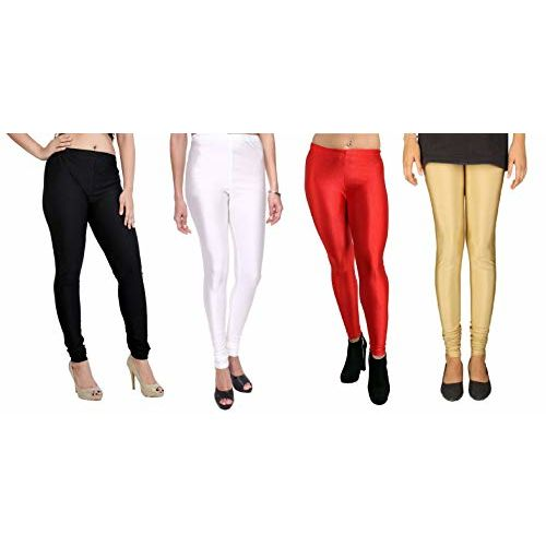 SriSaras Women's Satin Spandex Leggings (Black, White, Red, Golden, Large)