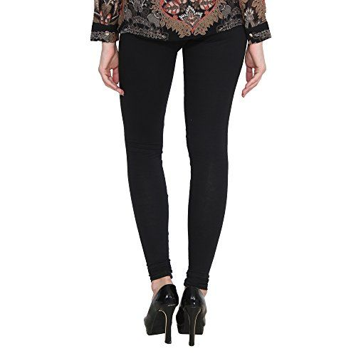 ALISHAH Cotton Lycra Churidar Leggings for Women and Girls Plus 25 Colors Black