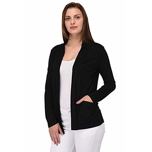 Riddle Women's Viscose Front Open Full Sleeve Shrug/Cardigan/Sweater/Jacket/Pullover/Hoodies (Small) Black