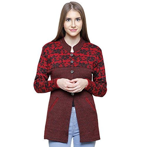 Matelco Maroon Wool Buttoned Coat/Cardigan with Embroidery & Pockets S