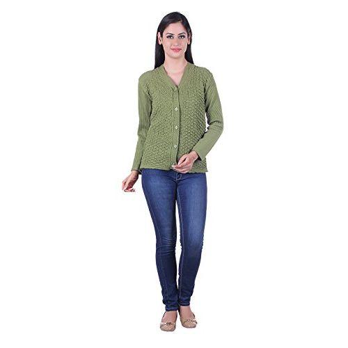 eWools Women's Woollen Cardigan (101, Green, Large)