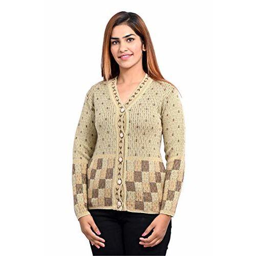 aarbee Women's Woollen Cardigan (Beige, Large)
