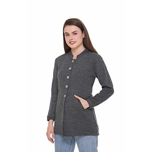 eWools Women Ladies Girls Winter Wear Round Neck Self Design Woolen Coat Sweater (Black, Medium)