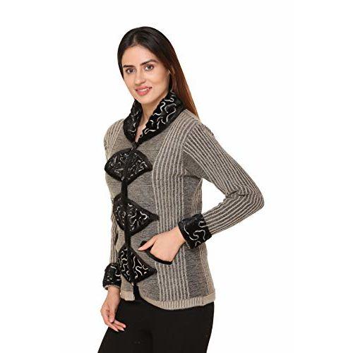 PIPASA Women Girls Ladies Woollen Buttoned High Neck Collar Printed Coat Cardigan for Winters (Medium, BLACKFUR-Pista)