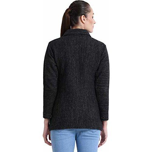 HAUTEMODA Women's Wool Buttoned Cardigan (Ad04Caz11Gy_Grey) (Large, Carbon Black)