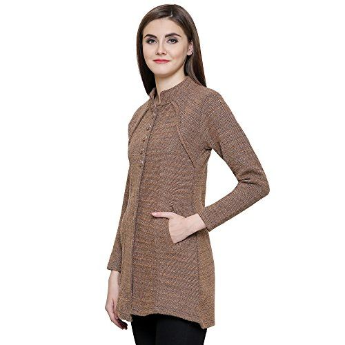 Matelco Brown Women's Woollen Cardigan/Sweater with Pockets for Winter