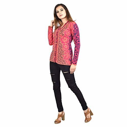 Shree Mark Womens/Ladies/Girls Woolen Full Sleeve Winter Wear Buttoned Cardigan and Womens/Ladies/Girls Woolen Full Sleeve Sweater. Pink