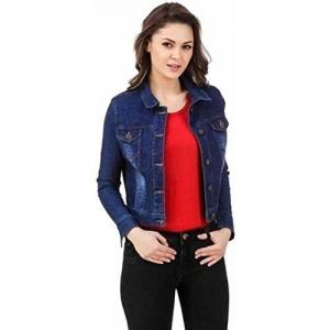 FUNDAY FASHION Full Sleeve Solid Women's Denim Jacket (Dark Blue, Small)