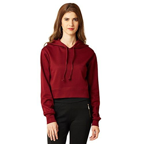 Miss Chase Women's Full Sleeves Hooded Round Neck Boxy Fit Cotton Top(MCAW17SWT01-09-143-02, Maroon, X-Small)