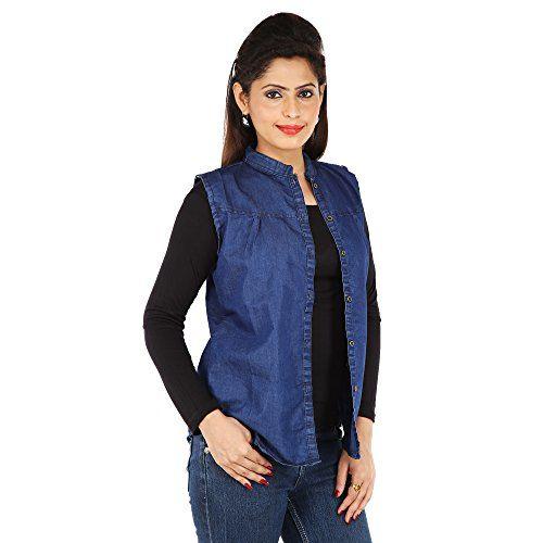 Romile Sleeveless Solid Women's Blue Denim Jacket (Size-Small)