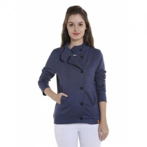 Campus Sutra Blue Cotton Asymmetric with Button Closure Jacket