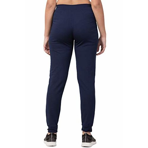 Bluecon Dark Blue Dry Fit/Polyester Slim Fit Solid Track Pant/Yoga Pant for Women