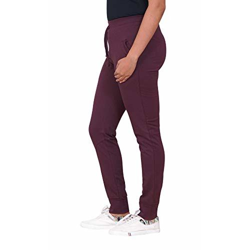 CARBON BASICS Sports Joggers Track Pants for Women with Elastic Waiste Closure, Narrow Bottom Regular Fit with 2 Pockets (Magenta_M)
